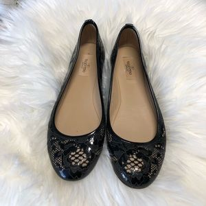 Valentino Lace Leather Ballet Flats Size 38